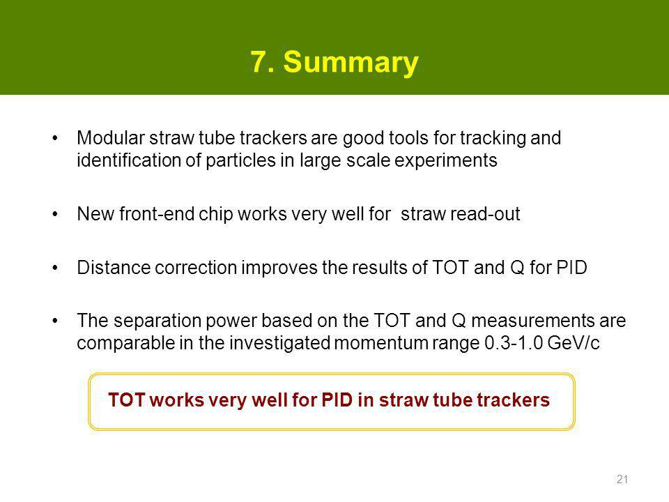 7. Summary Modular straw tube trackers are good tools for tracking and identification of particles in large scale experiments.