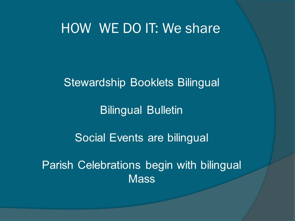 HOW WE DO IT: We share Stewardship Booklets Bilingual