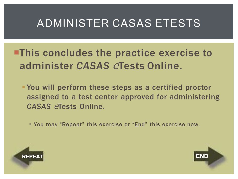 Administer CASAS eTests