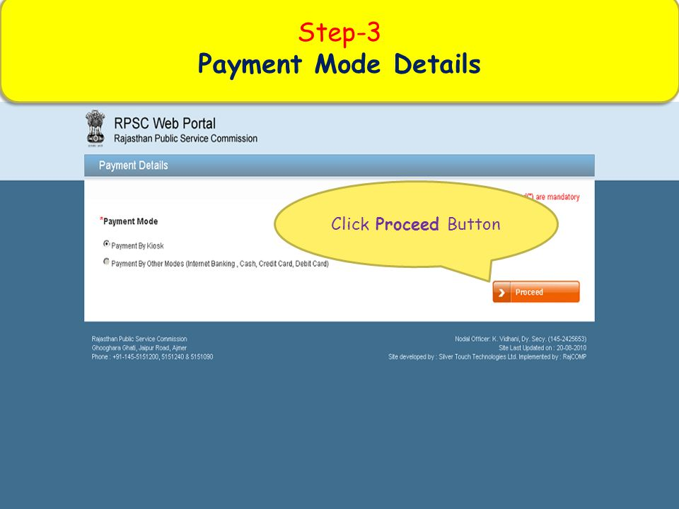 Step-3 Payment Mode Details Click Proceed Button