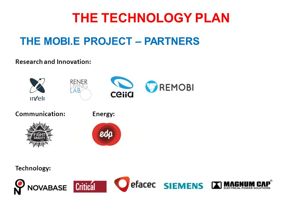 THE TECHNOLOGY PLAN THE MOBI.E PROJECT – PARTNERS