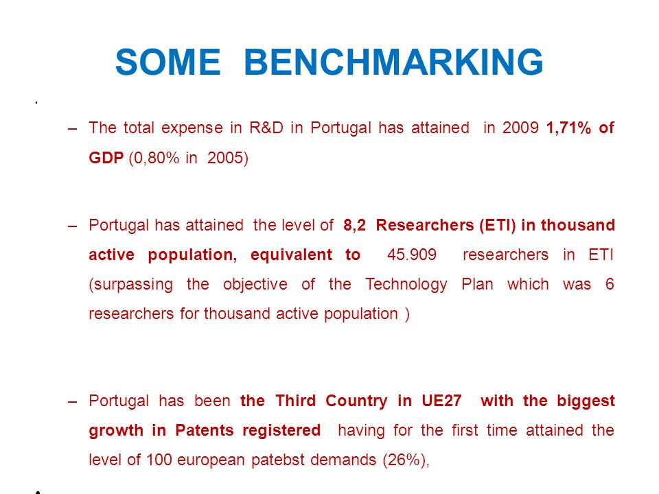 Some benchmarking The total expense in R&D in Portugal has attained in 2009 1,71% of GDP (0,80% in 2005)