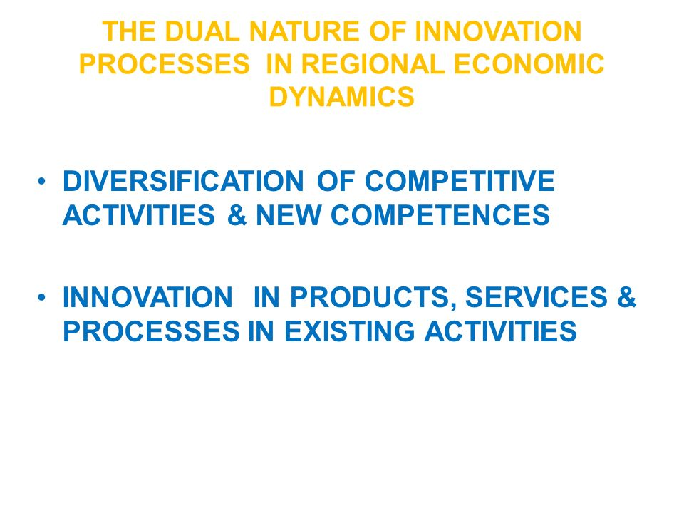 The dual NATURE OF INNOVATION processES in regional economic dynamics