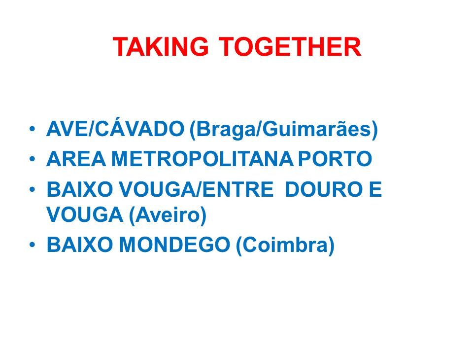 TAKING TOGETHER AVE/CÁVADO (Braga/Guimarães) AREA METROPOLITANA PORTO