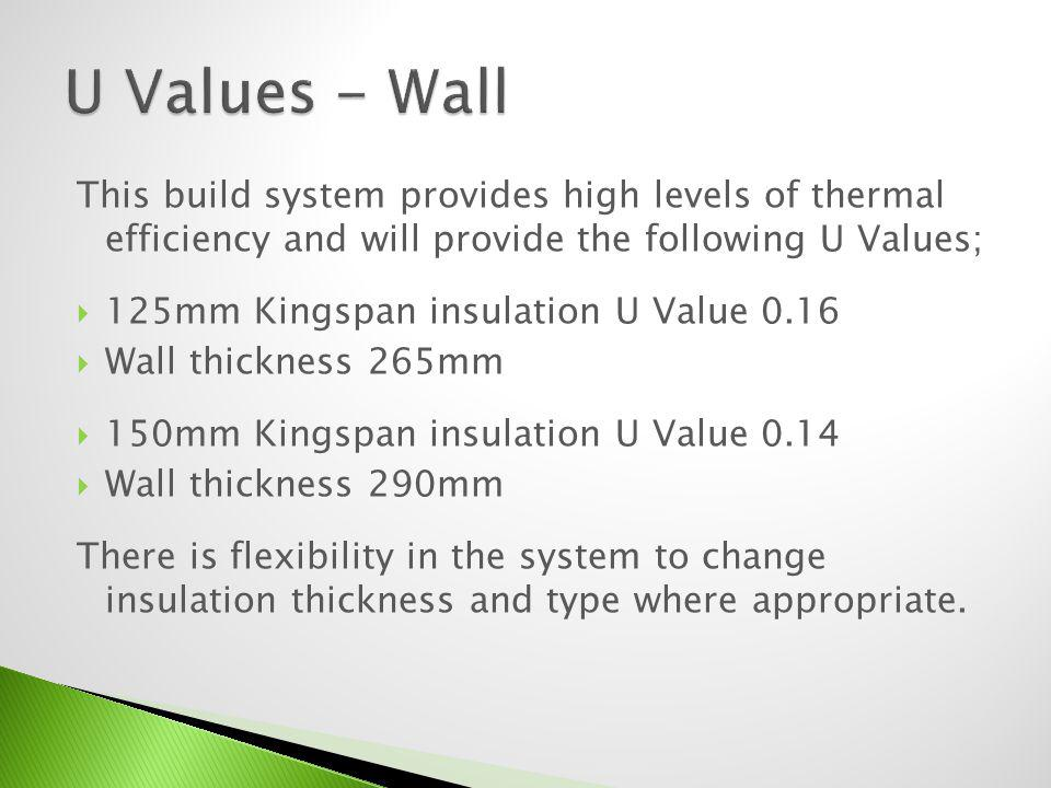 U Values - Wall This build system provides high levels of thermal efficiency and will provide the following U Values;