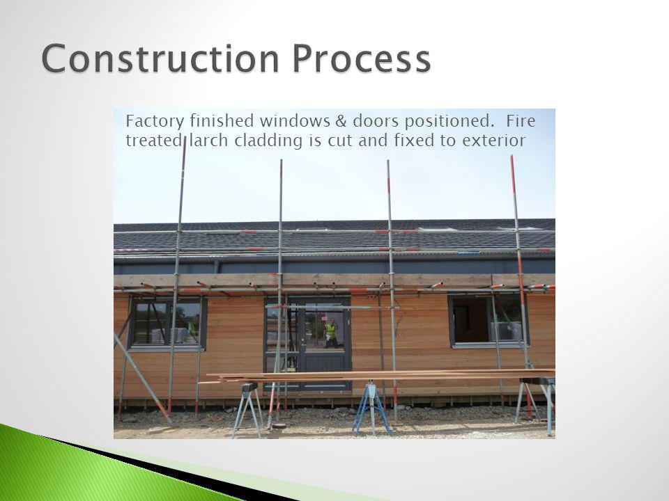 Construction Process Factory finished windows & doors positioned.