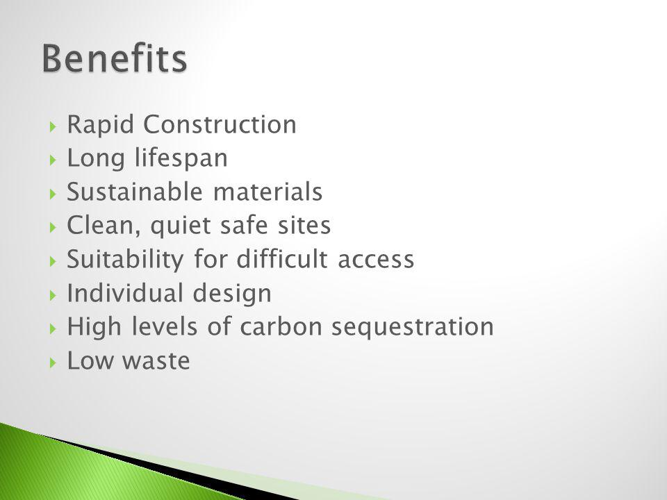 Benefits Rapid Construction Long lifespan Sustainable materials