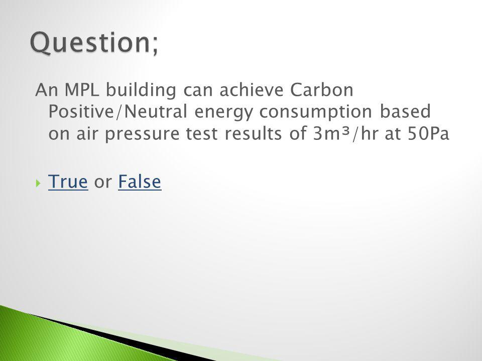 Question; An MPL building can achieve Carbon Positive/Neutral energy consumption based on air pressure test results of 3m³/hr at 50Pa.