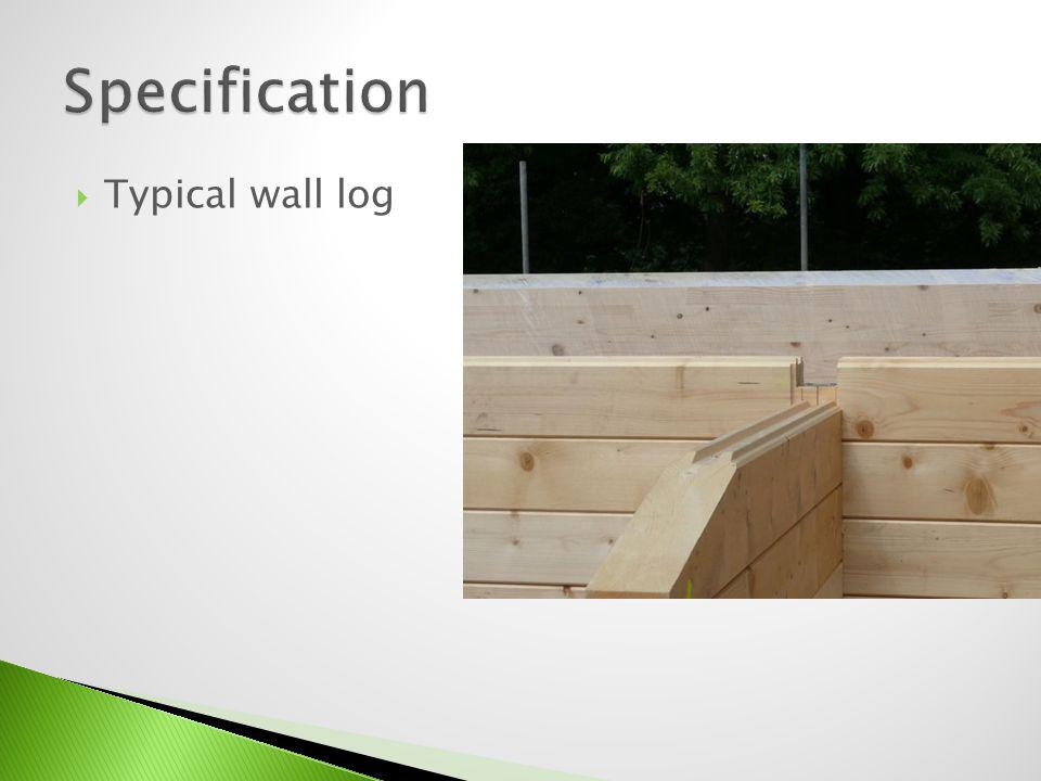 Specification Typical wall log