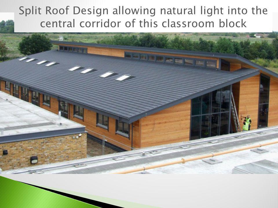 Split Roof Design allowing natural light into the central corridor of this classroom block