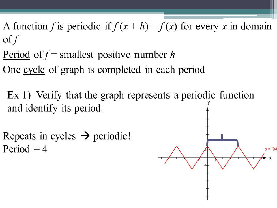 A function f is periodic if f (x + h) = f (x) for every x in domain of f