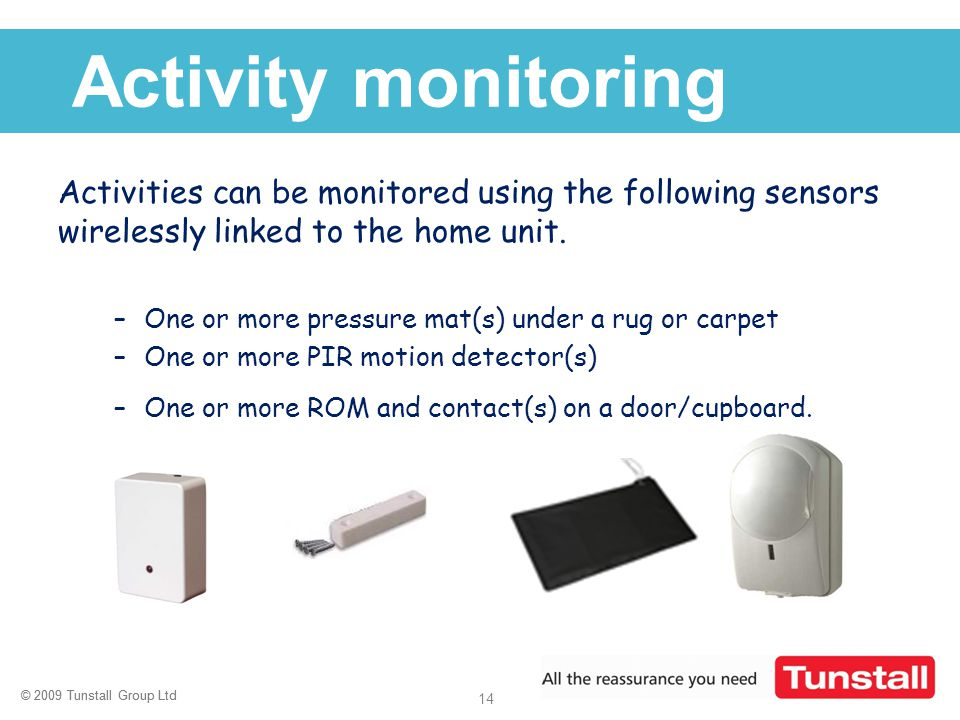 Activity monitoring Activities can be monitored using the following sensors wirelessly linked to the home unit.