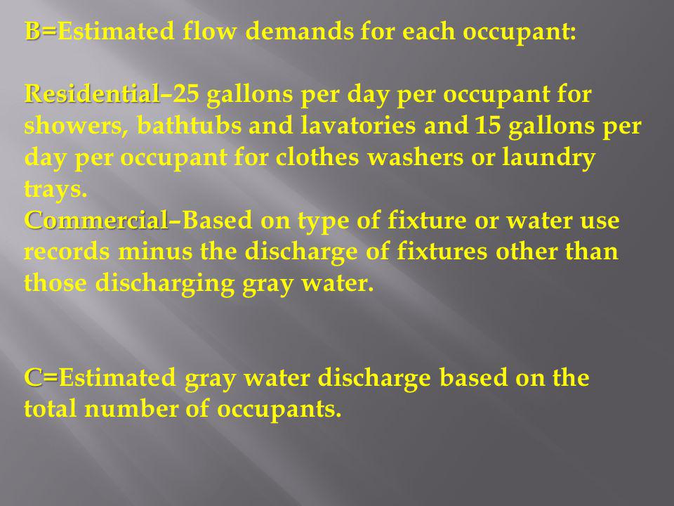 B=Estimated flow demands for each occupant: