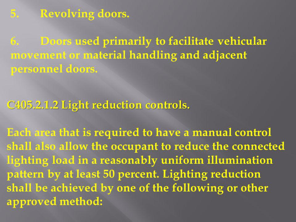 5. Revolving doors. 6. Doors used primarily to facilitate vehicular movement or material handling and adjacent personnel doors.