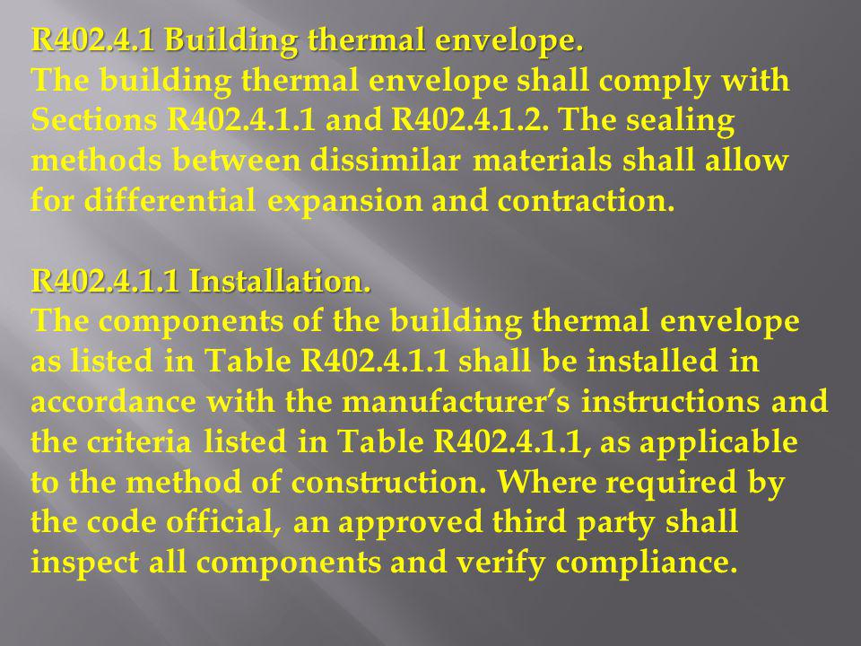 R402.4.1 Building thermal envelope.