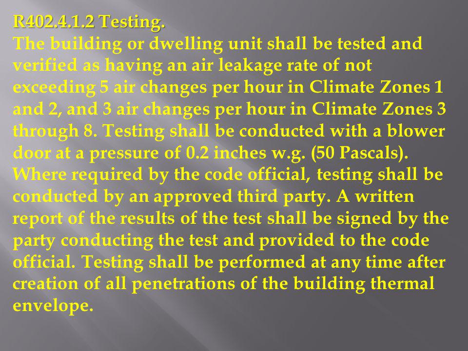 R402.4.1.2 Testing.