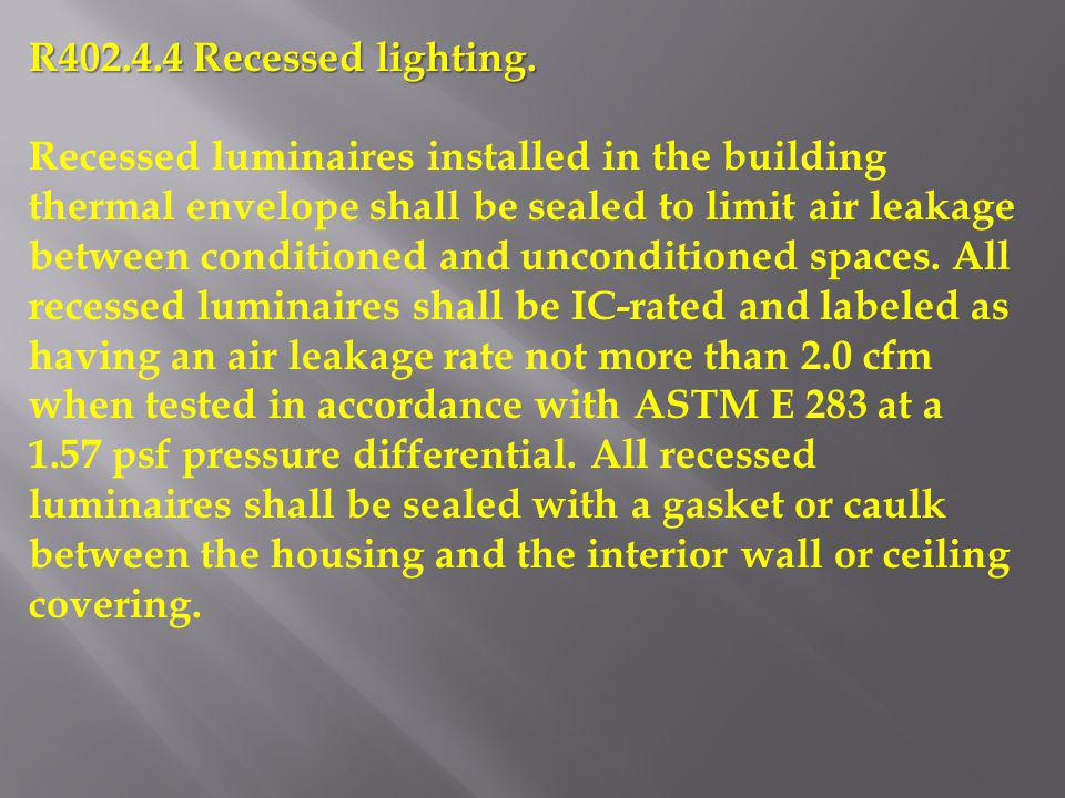R402.4.4 Recessed lighting.