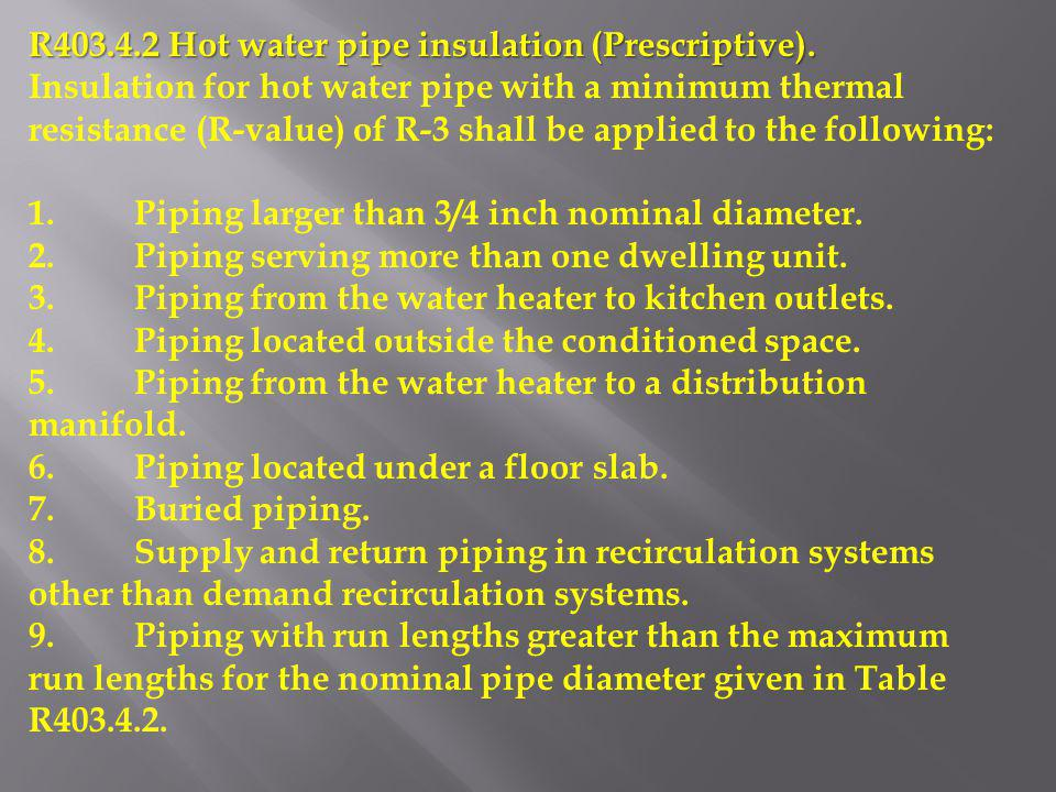R403.4.2 Hot water pipe insulation (Prescriptive).