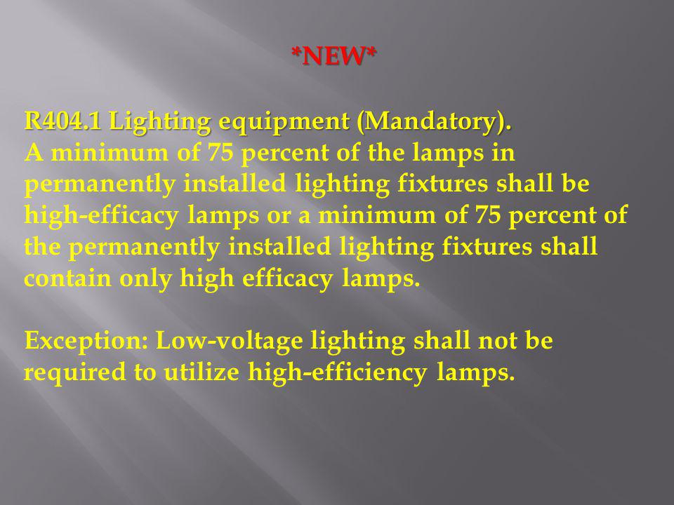 *NEW* R404.1 Lighting equipment (Mandatory).