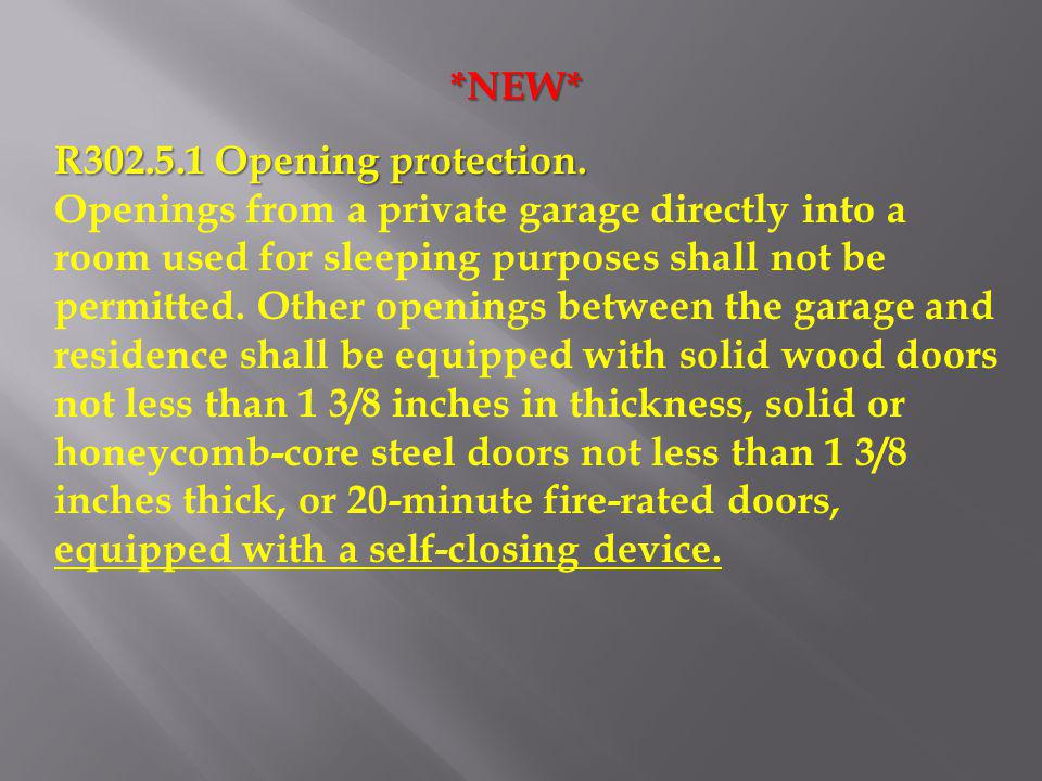 *NEW* R302.5.1 Opening protection.