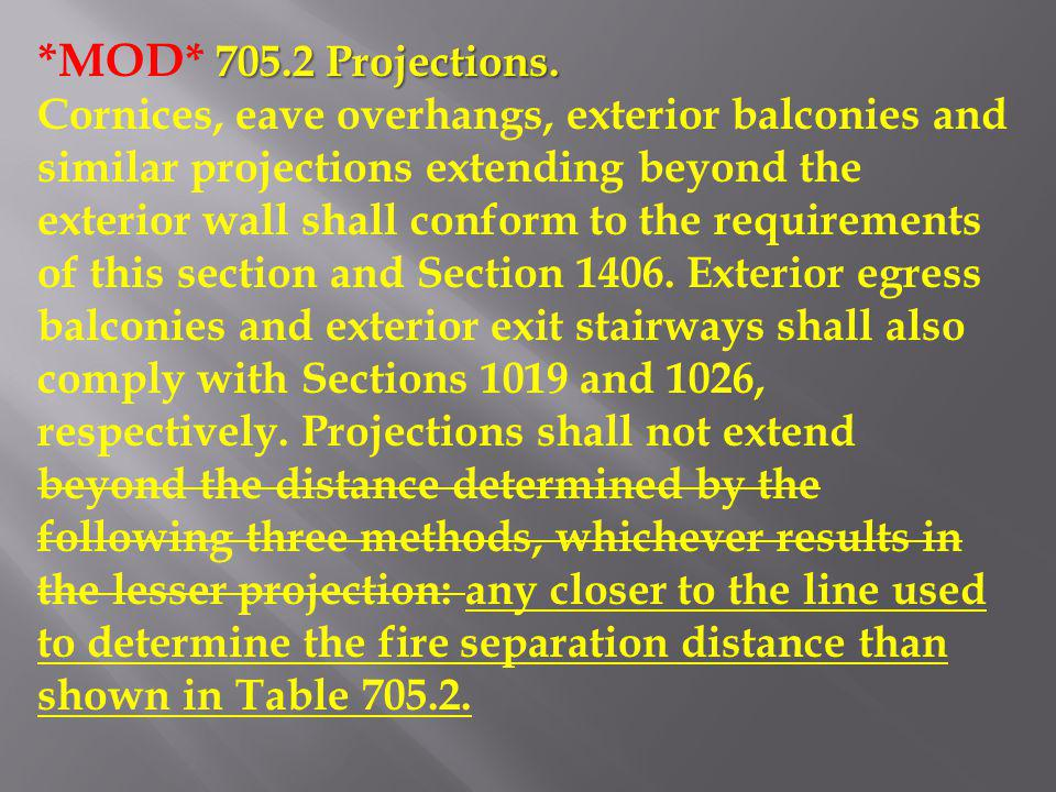 *MOD* 705.2 Projections.