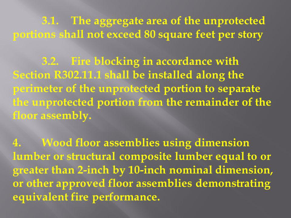 3.1. The aggregate area of the unprotected portions shall not exceed 80 square feet per story