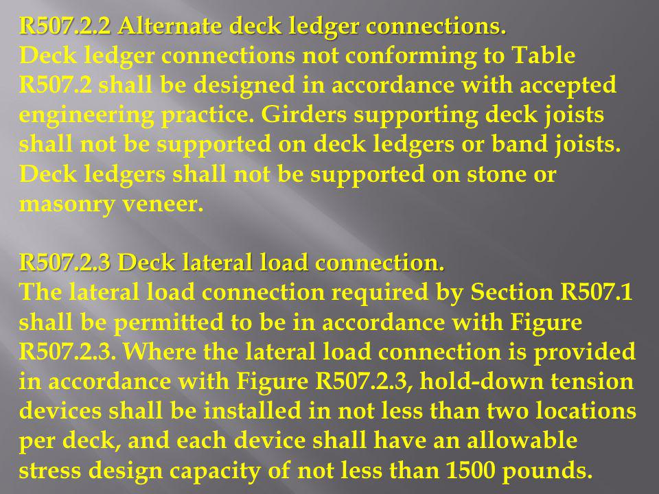 R507.2.2 Alternate deck ledger connections.