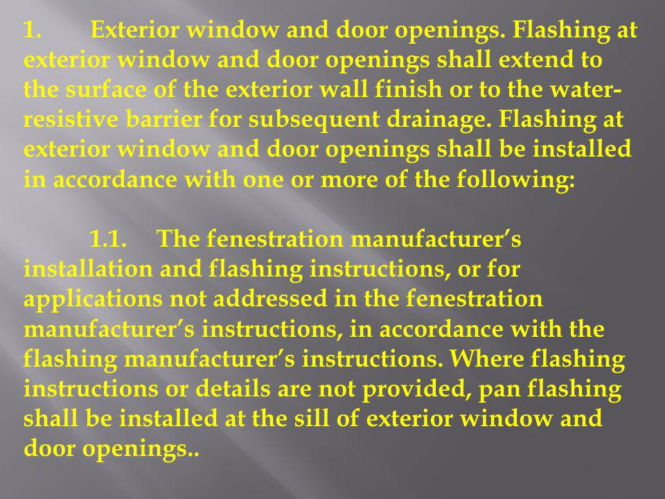 1. Exterior window and door openings