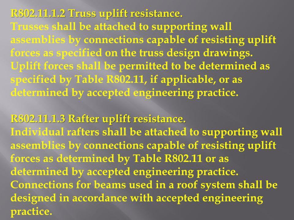R802.11.1.2 Truss uplift resistance.