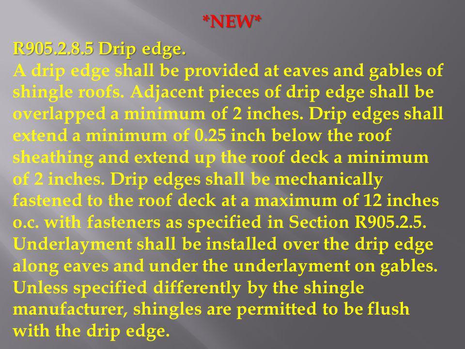 *NEW* R905.2.8.5 Drip edge.