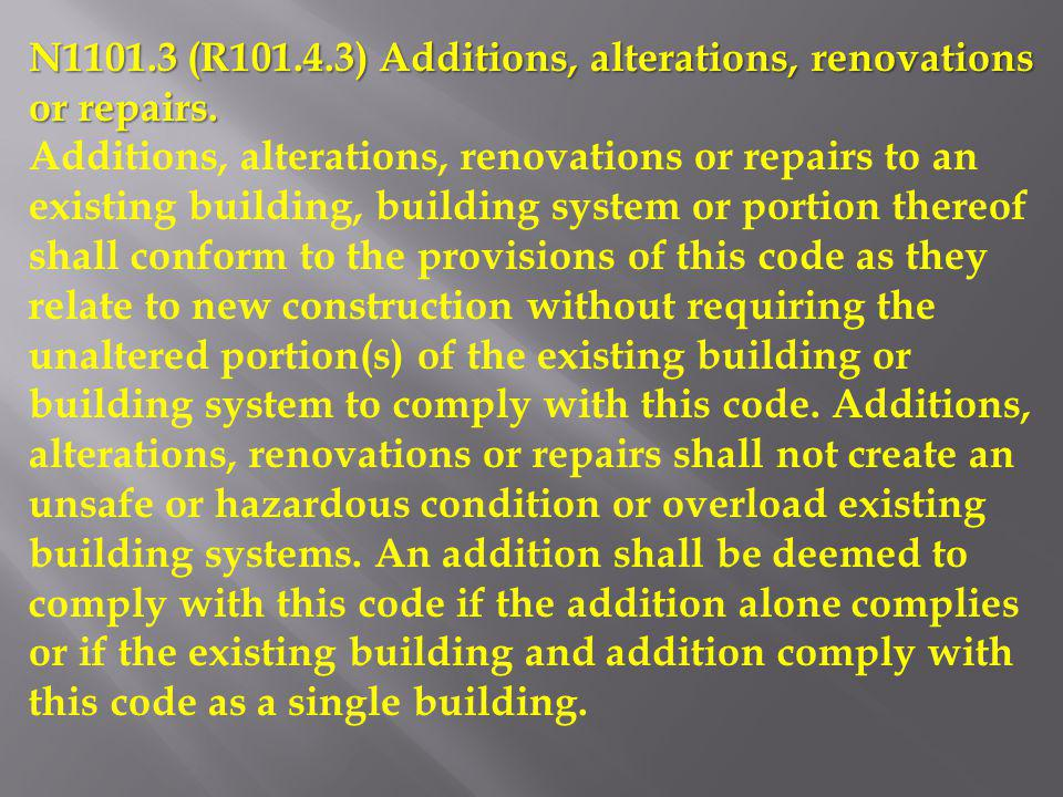 N1101.3 (R101.4.3) Additions, alterations, renovations or repairs.