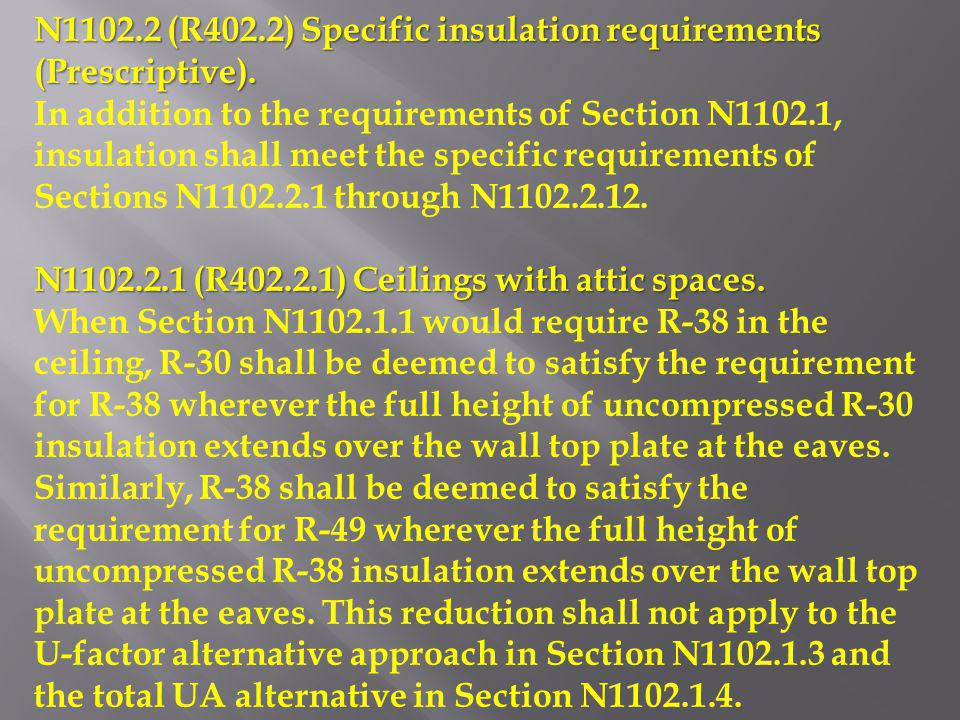 N1102.2 (R402.2) Specific insulation requirements (Prescriptive).