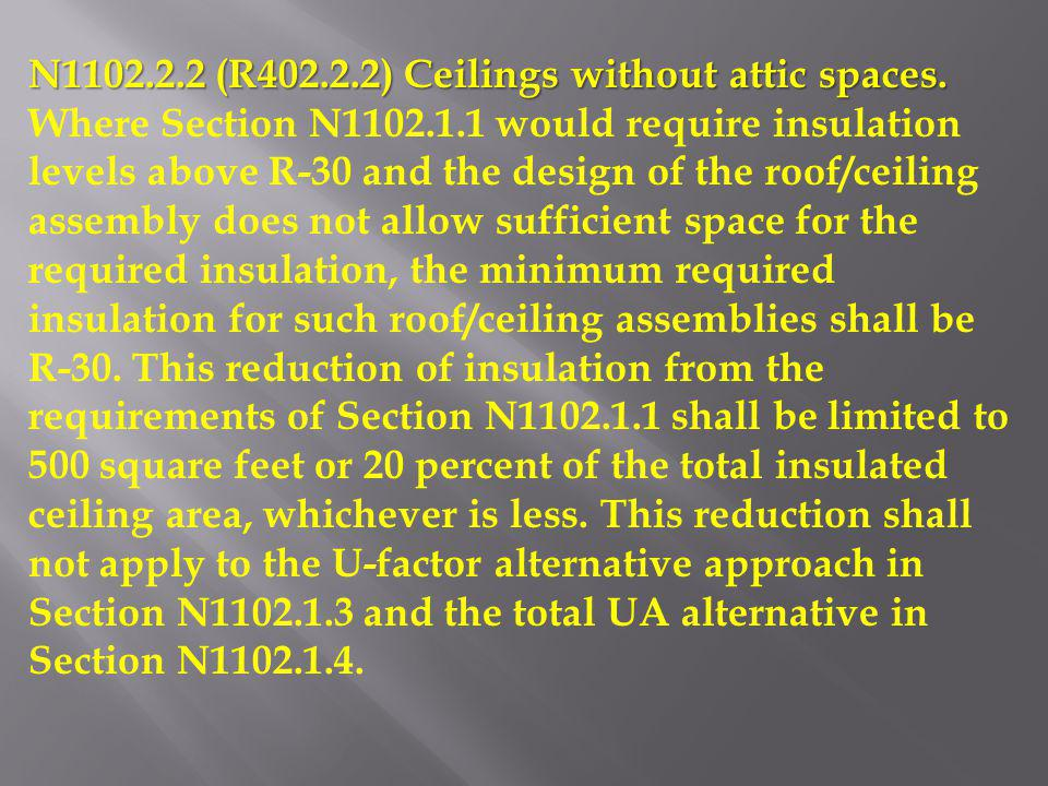N1102.2.2 (R402.2.2) Ceilings without attic spaces.