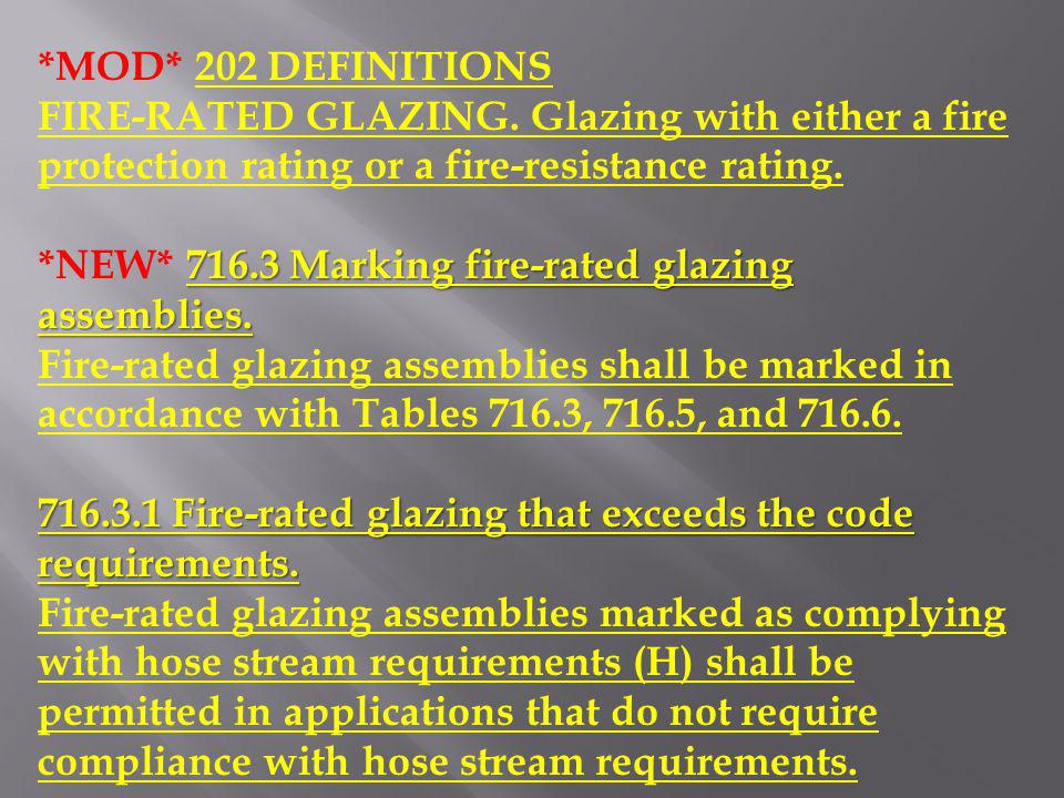*MOD* 202 DEFINITIONS FIRE-RATED GLAZING. Glazing with either a fire protection rating or a fire-resistance rating.