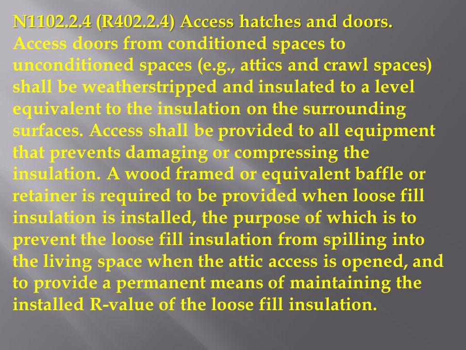 N1102.2.4 (R402.2.4) Access hatches and doors.