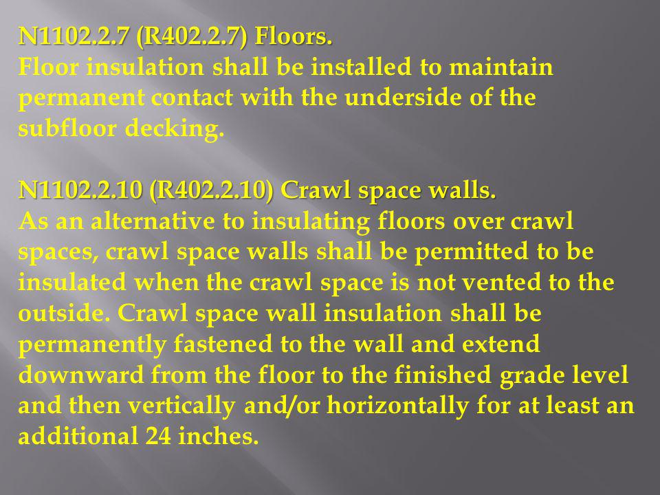 N1102.2.7 (R402.2.7) Floors. Floor insulation shall be installed to maintain permanent contact with the underside of the subfloor decking.