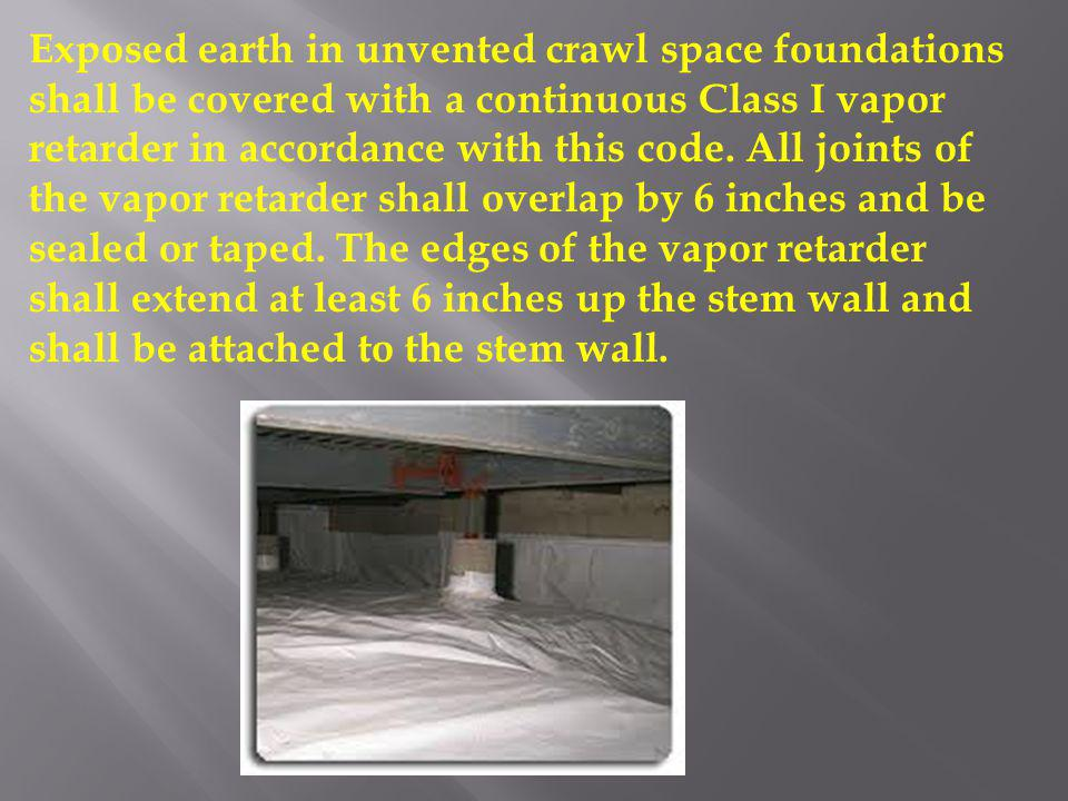Exposed earth in unvented crawl space foundations shall be covered with a continuous Class I vapor retarder in accordance with this code.