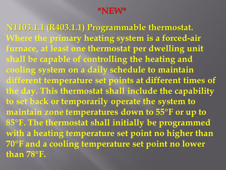 *NEW* N1103.1.1 (R403.1.1) Programmable thermostat.