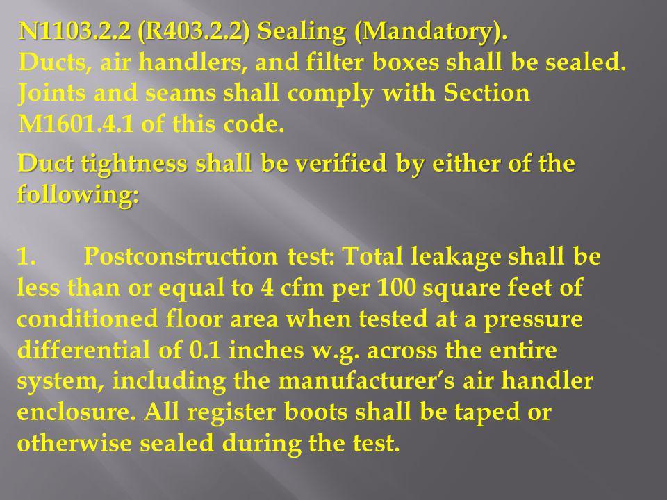 N1103.2.2 (R403.2.2) Sealing (Mandatory).