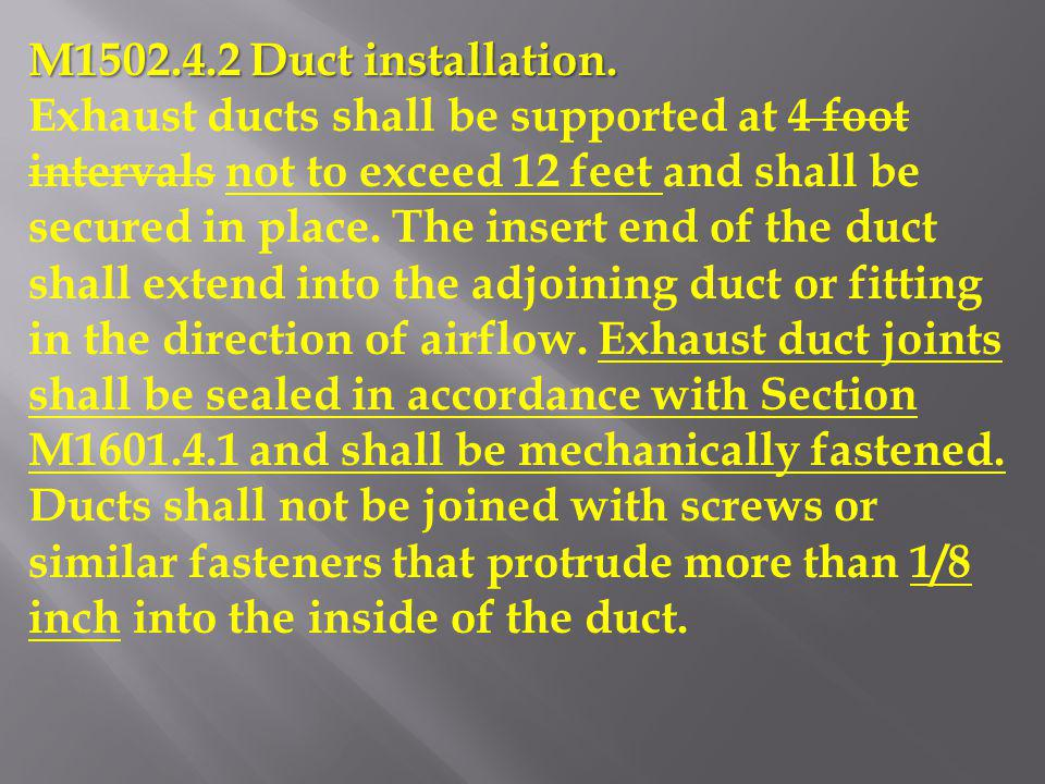 M1502.4.2 Duct installation.