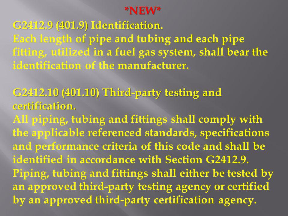 *NEW* G2412.9 (401.9) Identification.
