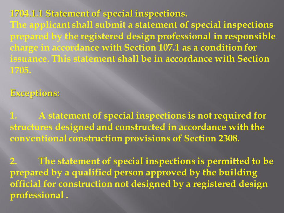 1704.1.1 Statement of special inspections.