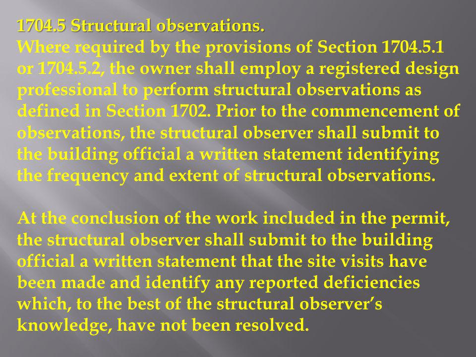 1704.5 Structural observations.