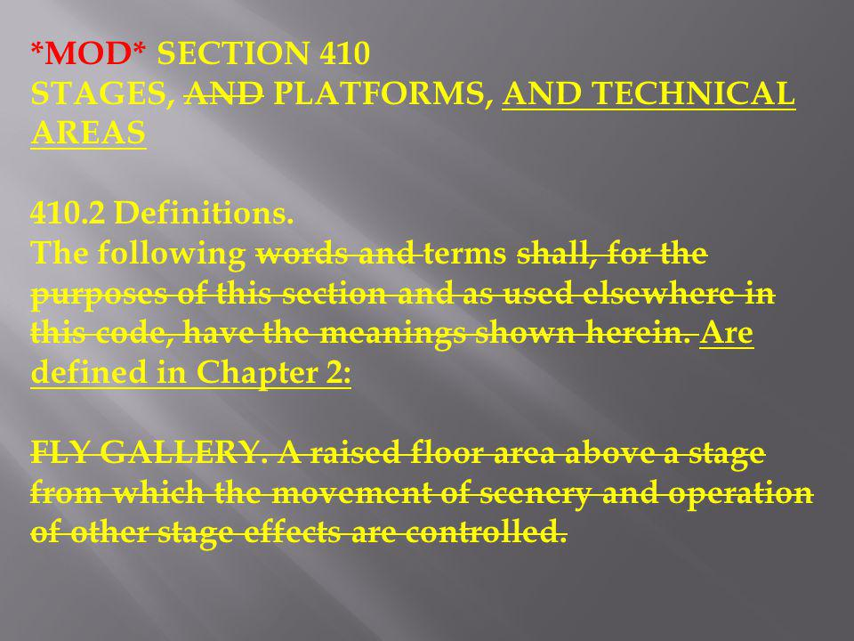 *MOD* SECTION 410 STAGES, AND PLATFORMS, AND TECHNICAL AREAS. 410.2 Definitions.