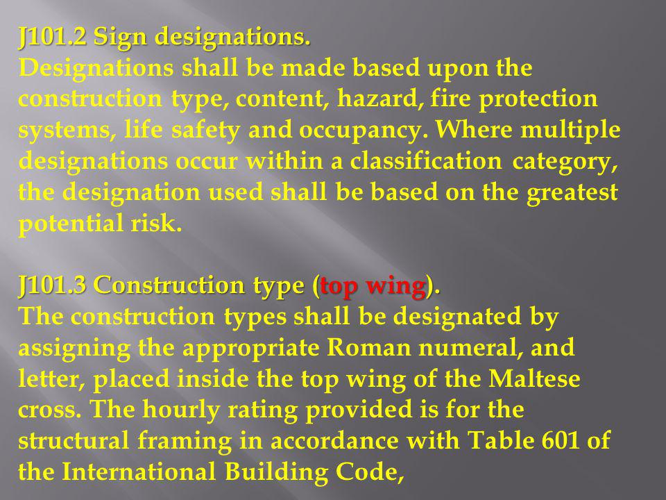 J101.2 Sign designations.