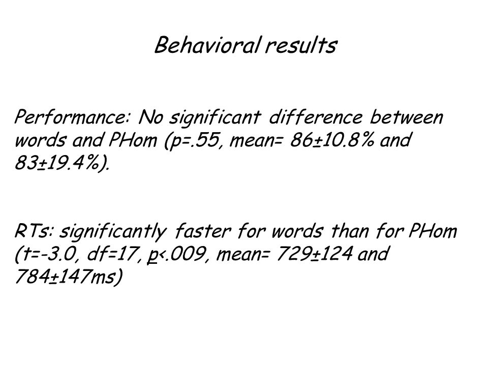 Behavioral results Performance: No significant difference between words and PHom (p=.55, mean= 86±10.8% and 83±19.4%).