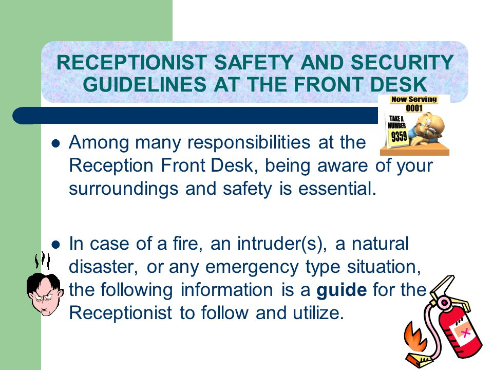 RECEPTIONIST SAFETY AND SECURITY GUIDELINES AT THE FRONT DESK