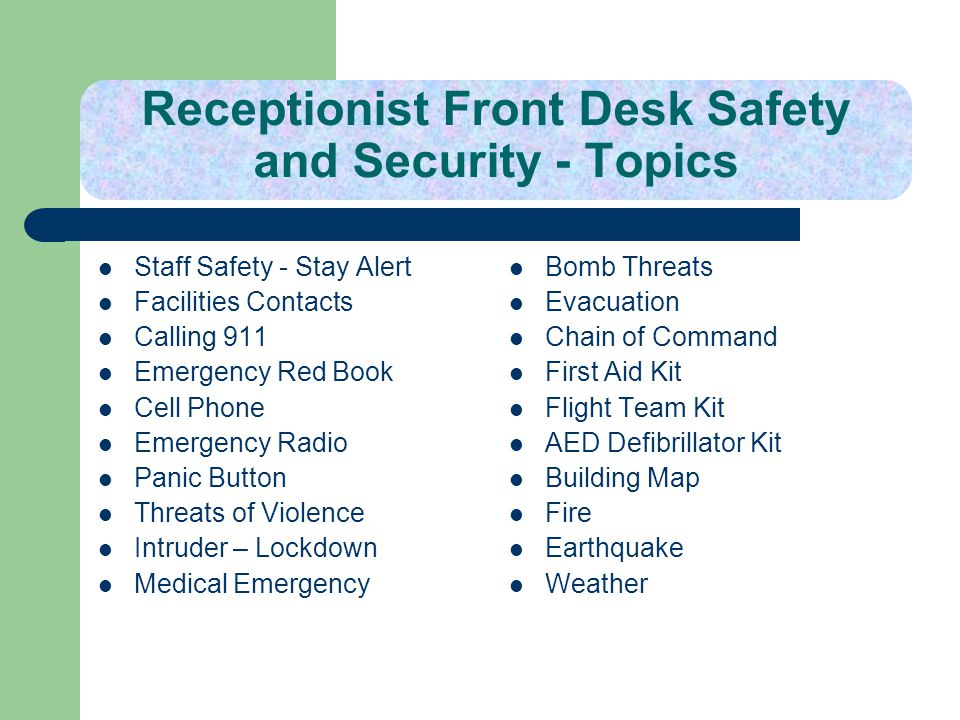 Receptionist Front Desk Safety and Security - Topics