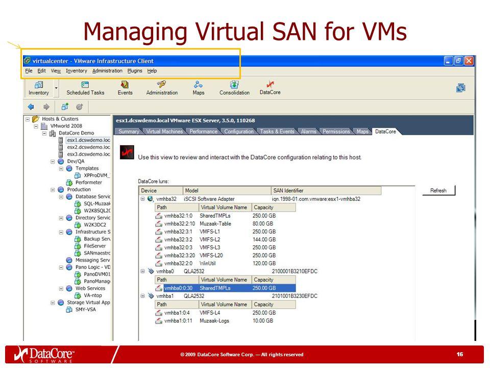 Managing Virtual SAN for VMs