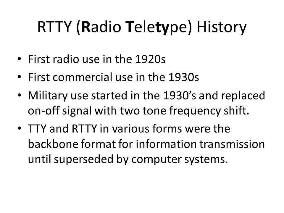 RTTY (Radio Teletype) History